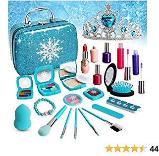 Fabely Washable Kids Makeup Kit Pretend Play Toy Frozen Toys for Girl Real Makeup Washes Off Easily Toddler Makeup Toy