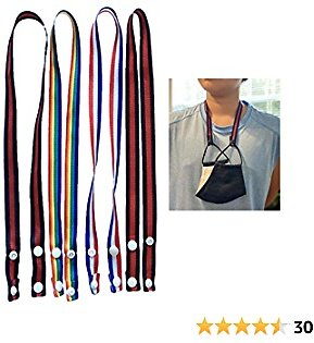 Mask Lanyard Strap for Mask Holder with Snap Button 4PCS Breakaway Lanyards for Kids Adults Handy Neck Strap Safety Cover Hanger Chain Comfortable Around The Neck Rest