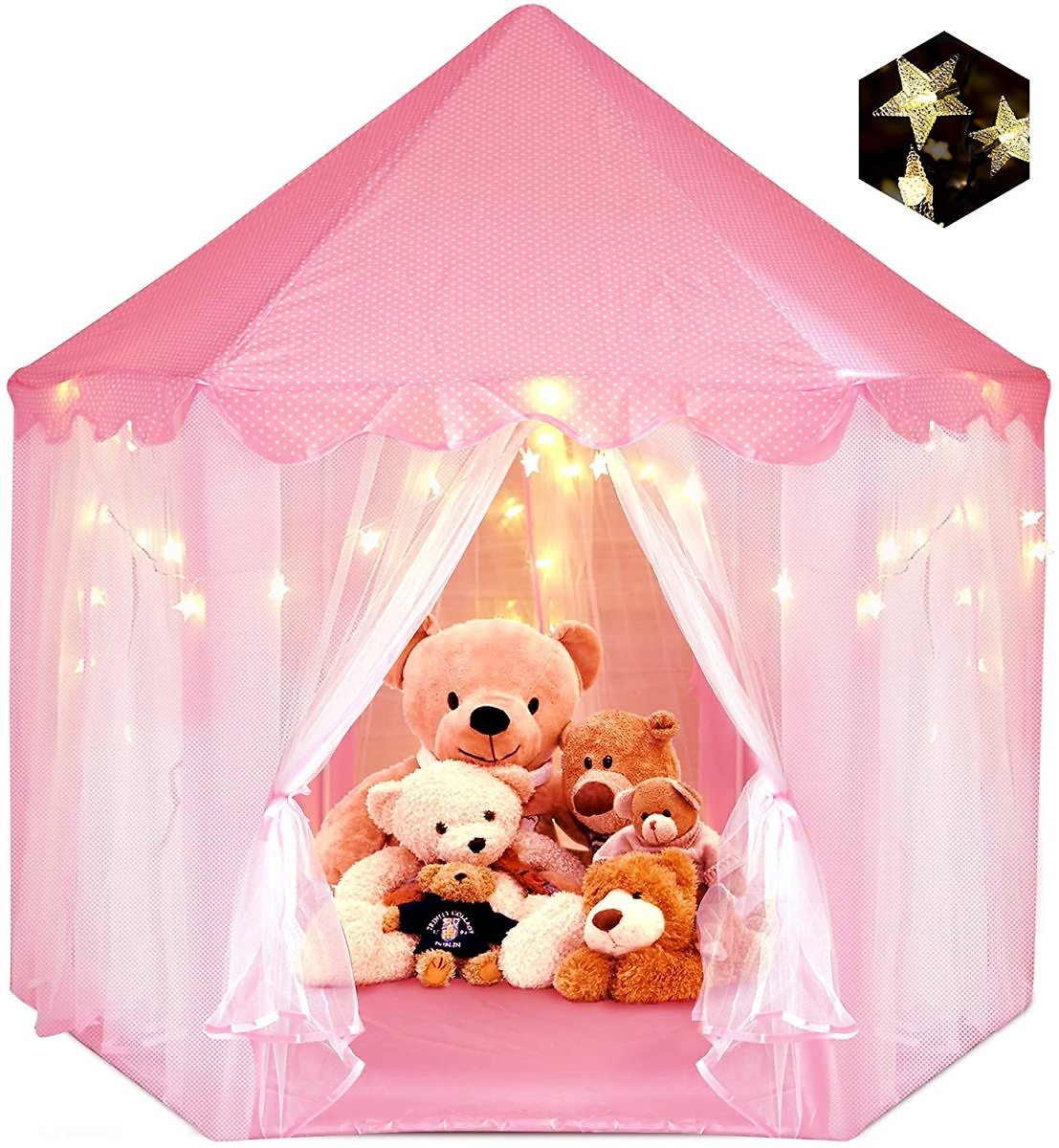 Princess Tent for Girls, ZUOSEN Large Castle Play Tent for Girls with LED Star Lights Indoor Outdoor Girl Toys Hexagon Playhouse, Foldable&Easy Carrying Girl Gift Pink Tent for Game 55.5