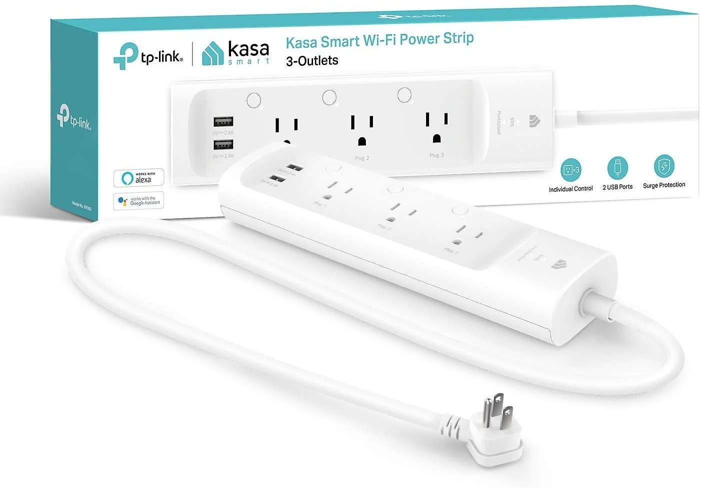 33% OFF - Kasa Smart KP303 Plug Power Strip, Surge Protector, Smart Outlets and 2 USB Ports, Works with Alexa Echo & Google Home