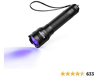 Anker Bolder UV Flashlight Rechargeable, 380nm Ultraviolet Blacklight Detector for Dog Urine, Pet Stains and Fluorescence, Pocket-size LED Torch, IPX5 Water Resistant, 18650 Battery Included