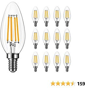 Up to 50% Off 12 Pack Amico B11 60W Equivalent Dimmable LED Candelabra Bulb