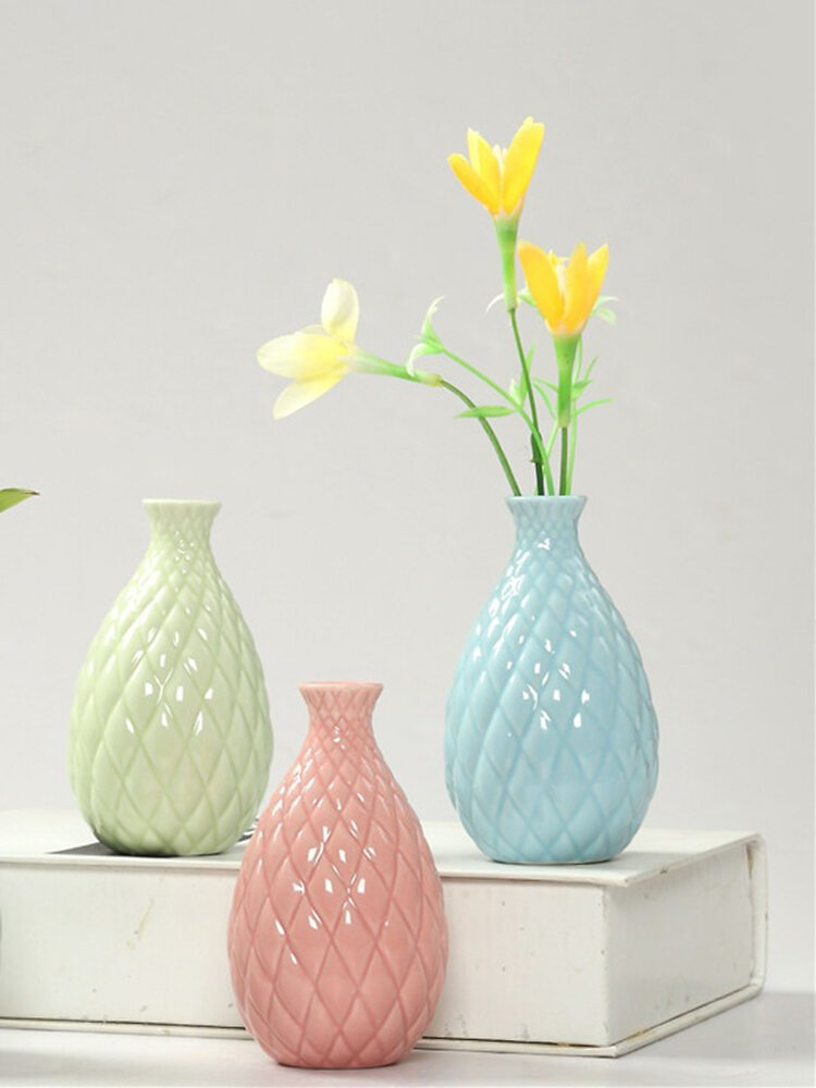 Fashion Home Convex Surface Vase Handmade Ceramic Flower Plant Bottle Pot Garden Decor