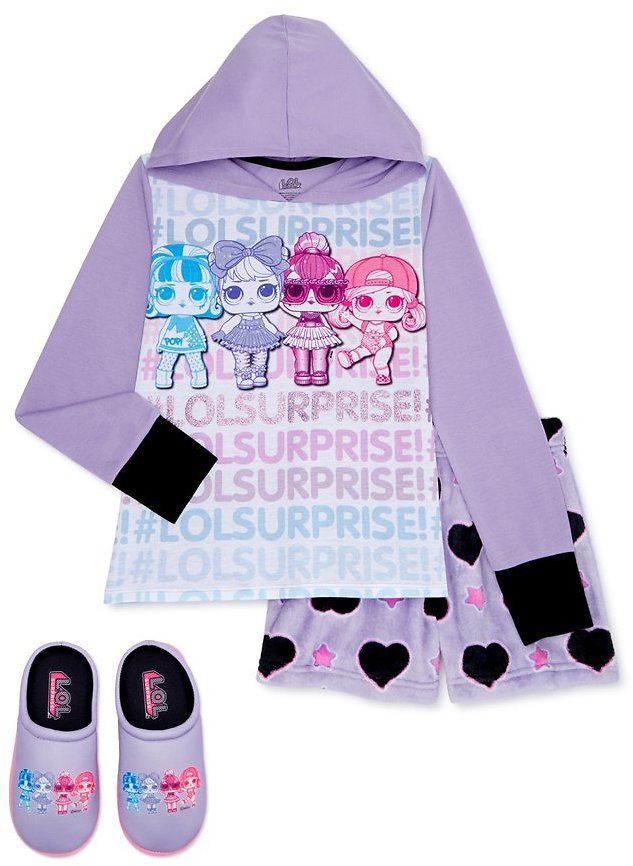 L.O.L Surprise! Girls Pajama with Cozy Plush Shorts & Slippers, Sizes 4-12
