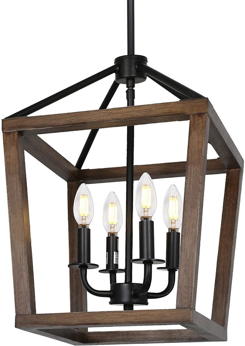 4-Light Rustic Chandelier, Adjustable Height Lantern Pendant Light with Oak Wood and Iron Finish, Farmhouse Lighting Fixtures for Dining Room, Kitchen, Hallway and Entryway, 18