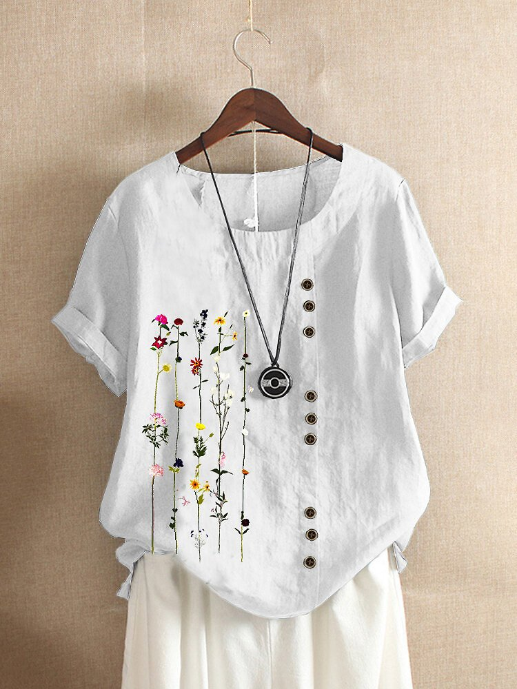 Floral Printed O-neck Short Sleeve Button T-shirt
