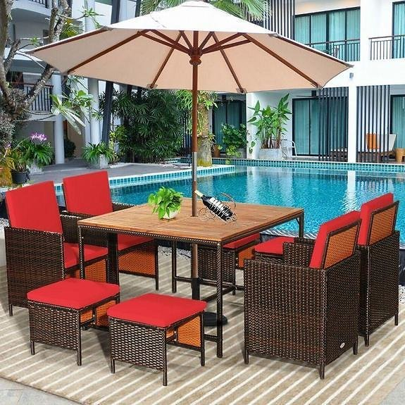 Rattan Patio Dining Cushioned Chair Set (9 Piece)