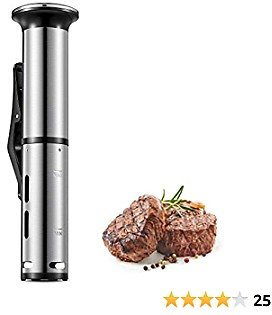 Sous Vide, AICOOK 1000W Fast Heating and Quiet Operation Sous Vide Cooker, Thermal Immersion Circulator with Recipe, Digital Interface, Temperature and Timer for Kitchen, 120V, Stainless Steel