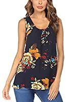EZBELLE Women's Summer Flowy High Neck Tank Tops Loose Sleeveless Shirts Strappy Blouse At Amazon Women's Clothing Store
