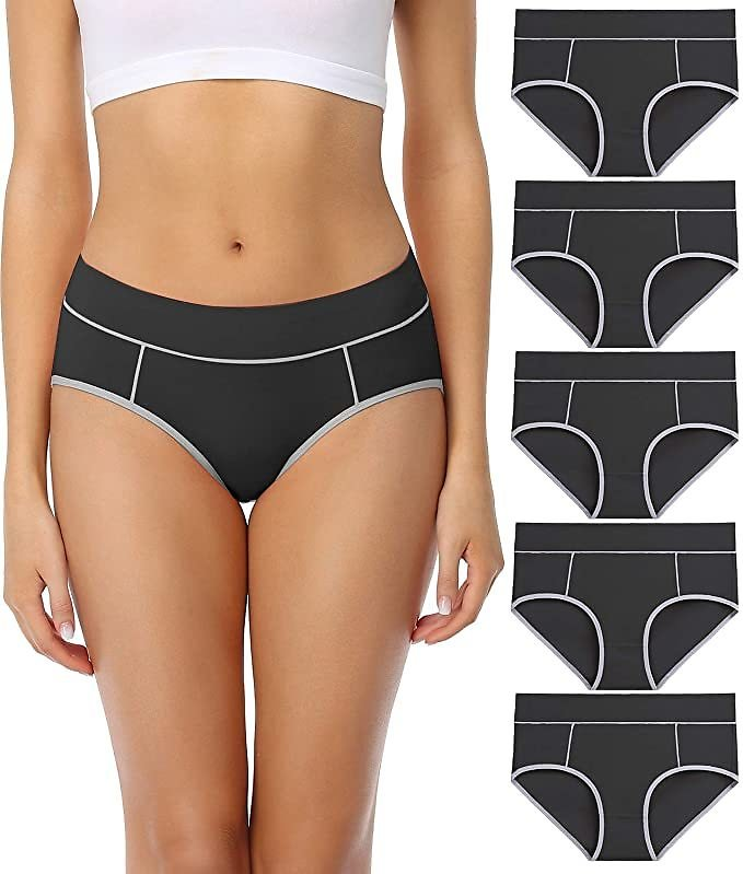 Wirarpa Women's Cotton Underwear Comfy Mid Waisted Plus Size Briefs 5 Pack Breathable Ladies Panties Black Size 5 At Amazon Women's Clothing Store