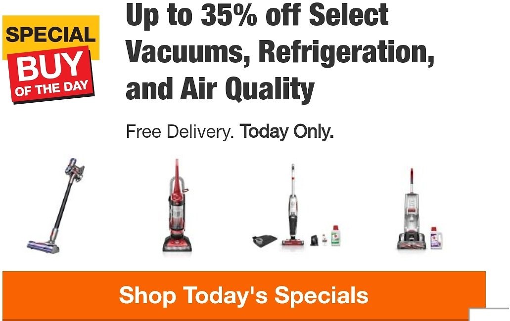 Up to 35% off Select Vacuums, Refrigeration, and Air Quality