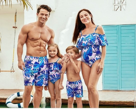 Mosaic Pink Blue Leaf Print Matching Swimsuits for Family