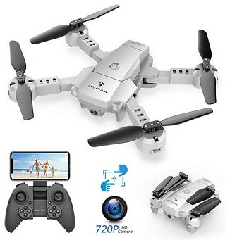 SNAPTAIN A10 Mini Foldable Drone with 720P HD Camera FPV Wifi RC Quadcopter /Voice Control, Gesture Control, Trajectory Flight,