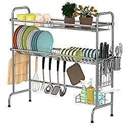Over The Sink Dish Drying Rack, Warmfill 2-Tier Large Dish Rack, Non-slip Stainless Steel Dish Drainer for Kitchen Counter with Utensil Holder Hooks, (Sink Size < 32 INCH), Silver: Kitchen & Dining
