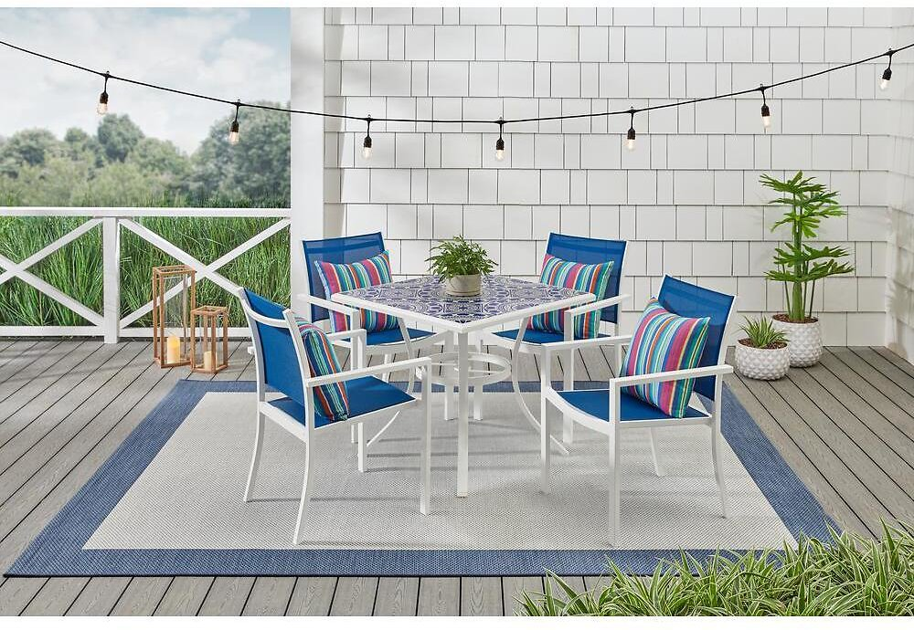 StyleWell Marivaux Blue and White 5-Piece Steel Outdoor Patio Dining Set with Blue Sling Chairs-2166SB-1