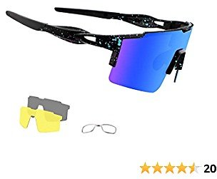 OULAIQI Cycling Sunglasses Polarized Sunglasses for Cycling Men Women with 3 Interchangeable Lens Baseball Glasses