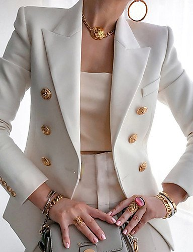Women Open Front Formal Jacket Suit Long Sleeve Lightweight Office Work Blazer with Buttons White