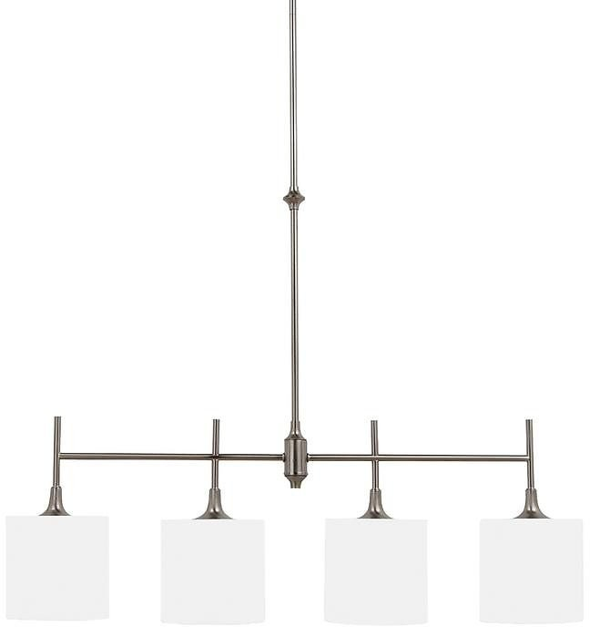 Sea Gull Lighting Stirling 37 In. W 4-Light Brushed Nickel Island Pendant with White Linen Drum Shades and Etched Glass Top Diffusers-66952-962