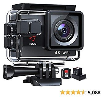 Victure 4K 50FPS Action Camera with EIS, Touch Screen, Charger, Sony Senor, 4X Zoom, 2 Batteries, Burst, Loop Recording, Time Lapse, 40M Waterproof Underwater Camera W/Gopro Compatible Accessories