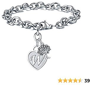 Tree Of Life Bracelet for Women, Engraved 26 Letters Initial Charms Bracelet Stainless Steel Tree Of Life Bracelet for Girls Tree Charm Bracelet for Girls Jewelry Thanksgiving Day Gifts for Mom
