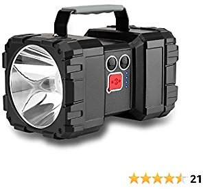 Lmaytech LED Rechargeable Flashlight, Double Head Spotlight Work Light with High Lumen 5000mAh Handheld Flashlight Flood Light Searchlight with 3+4 Light Modes for Camping Hiking Emergency(Small)