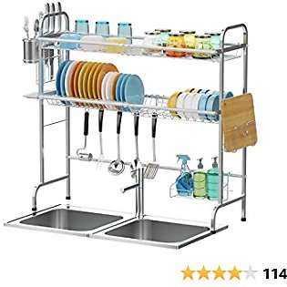 Over The Sink Dish Drying Rack, Cambond 2 Tier Large Dish Drainer Shelf Premium 201 Stainless Steel Square Tube Dish Rack with Utensils Holder for Kitchen Counter, Silver