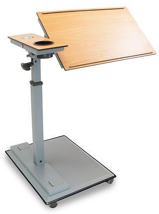 WiseLift WLT400 Rolling Work Station Swivel Table with USB Ports and Drink Holder