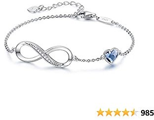 CDE Infinity Heart Symbol Charm Bracelet for Women 925 Sterling Silver Adjustable Mother's Day Jewelry Gift Birthday Gift for Mom Women Wife Girls Her