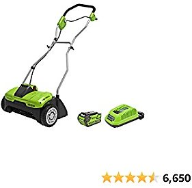Greenworks 40V 14 Inch Cordeless Dethatcher/Scarifier, 4Ah Battery and Charger Included DHF301
