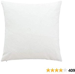 NTBAY Zippered Velvet Square Throw Pillow Cover, Super Soft and Luxury Decorative Euro Pillowcase, 26 X 26 Inches, White