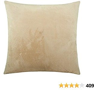 NTBAY Zippered Velvet Square Throw Pillow Cover, Super Soft and Luxury Decorative Euro Pillowcase, 24 X 24 Inches, Khaki