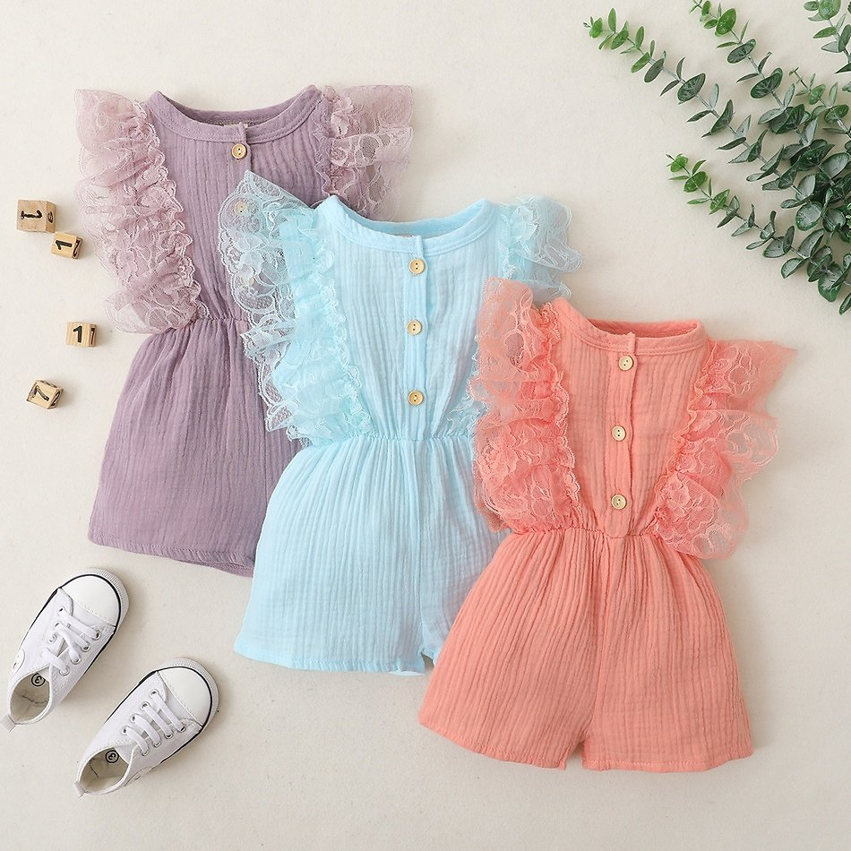 Baby Solid Lace Ruffle Short-sleeve Romper