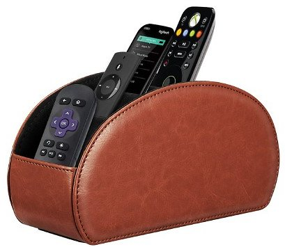Fintie TV Remote Control Holder Desktop Organizer - PU Leather Storage Caddy with 5 Compartments