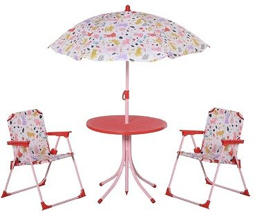Outsunny Kids Folding Picnic Table & Chair Set with Removable & Height Adjustable Umbrella