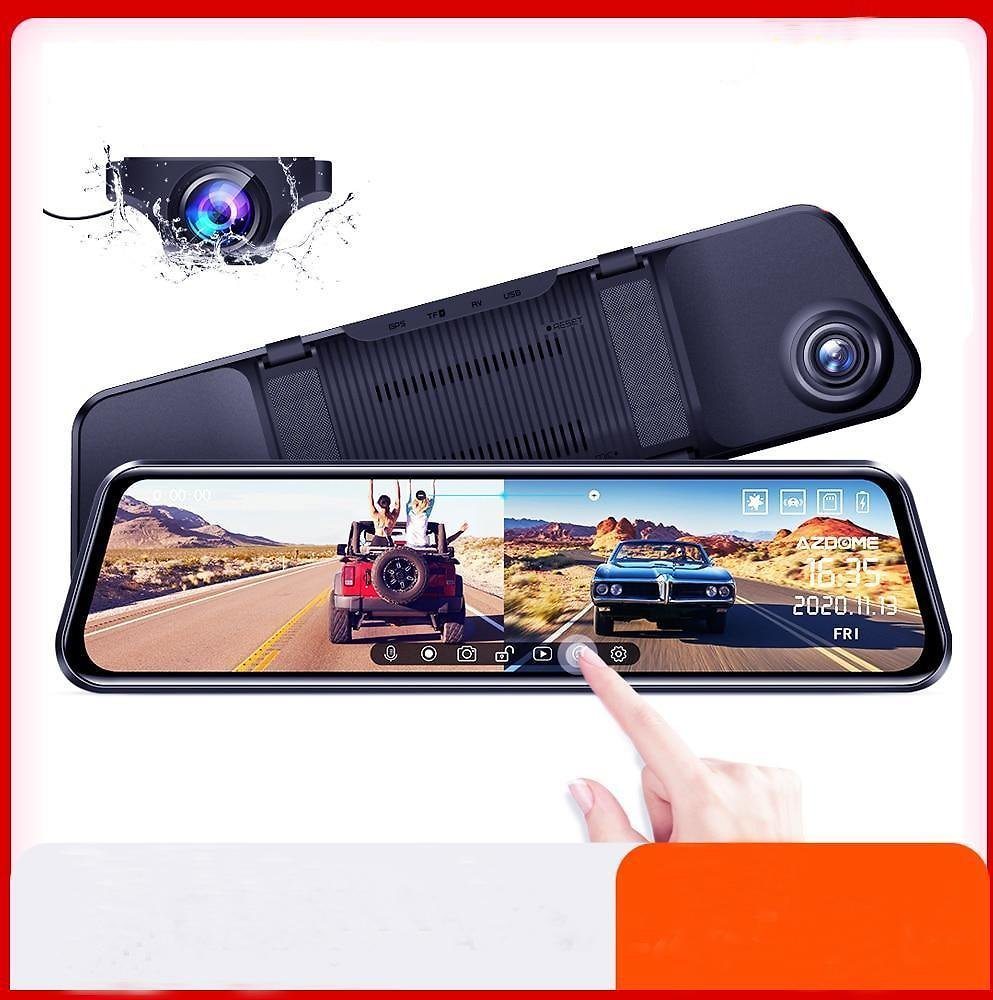 Dual Dash Cam Full Screen RearView Dashboard Camera with Full Touch Screen