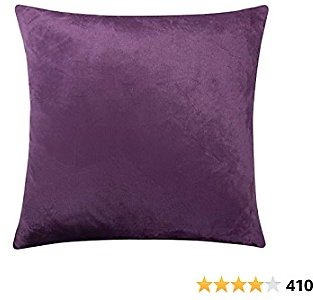 $8.93 Get Zippered Velvet Square Throw Pillow Cover, Super Soft and Luxury Decorative Euro Pillowcase, 26 X 26 Inches, Purple