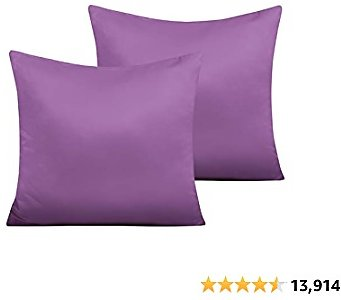 $5.51 Zippered Satin Square Throw Pillow Covers, 2 Pack Luxury Hidden Zipper Decorative Euro Pillowcases, 18 X 18 Inches, Purple