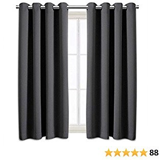 Blackout Curtains Room Darkening Curtains for Bedroom Thermal Insulated Grommet Curtain Panels Window Blackout Drapes for Living Room with 2 Tiebacks, Set of 2 Panels (52x63 Inch Dark Grey)