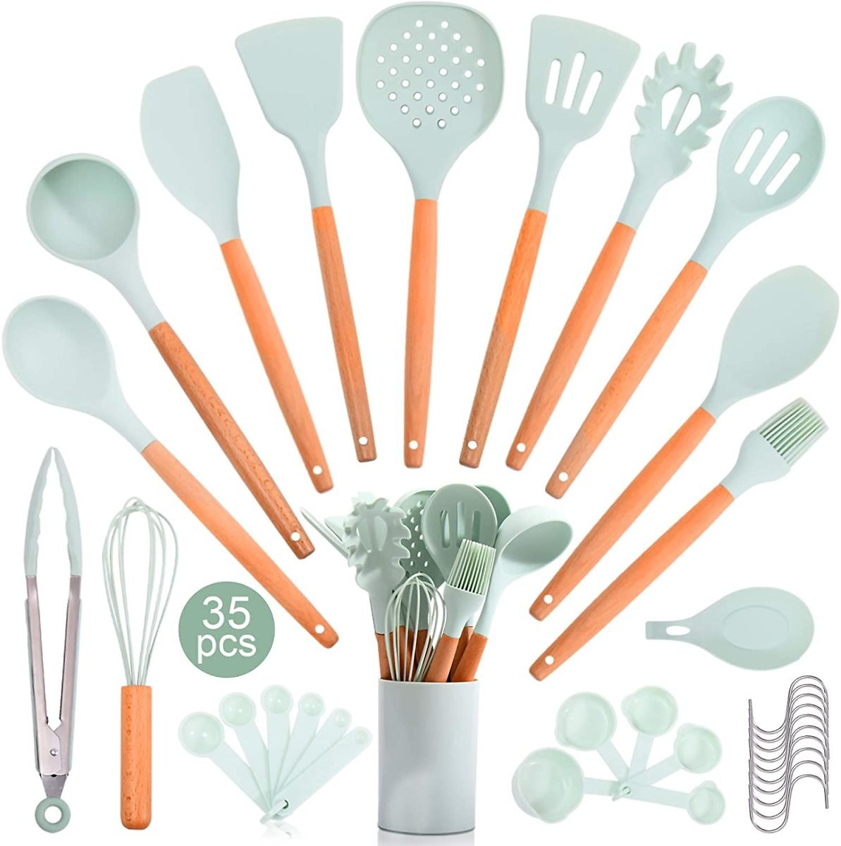 35 Pcs Silicone Kitchen Cooking Utensils Set with Wooden Handle