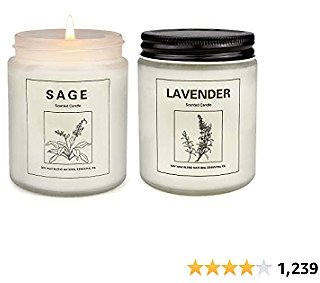 Sage Scented Candles for Home, Strongly Fragrance Sage and Lavender Aromatherapy Candles 2 Pcs, Soy Wax Candles Set, Jar Candles for Women Gift, Birthday Gift, Mother's Day Gift