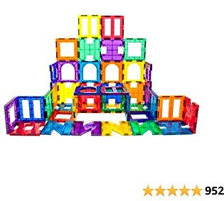 PicassoTiles 42 Piece Magnetic Building Block Set Playboards Magnet Tiles Construction Toy Educational Kit Tile Magnets Engineering STEM Learning Playset Stacking Blocks for Toddler Preschool 3 & Up
