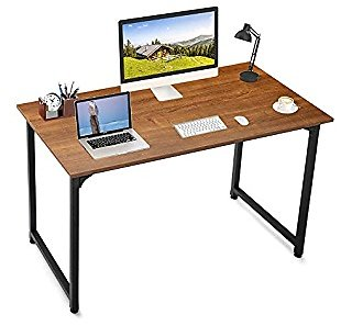 ComHoma Computer Desk 40 Inch Home Office Writing Desk for Small Space Modern Student Work Laptop PC Notebook Study Table, Brown