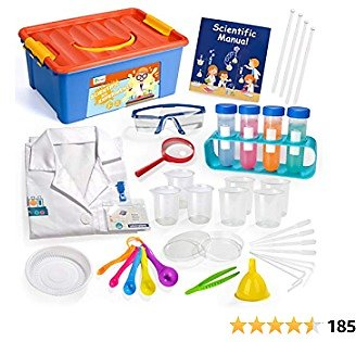 D-FantiX Science Kit for Kids, Science Experiment Kit with Lab Coat Goggles, 36Pcs Pretend Scientist Costume Role Play Laboratory Set STEM Toys Birthday Gift for Toddler Boys and Girls Age 3 4 5 6 7 8