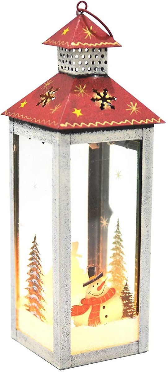 I GO Christmas Candle Lanterns Decorative, Metal Glass Snowman Candle Holder, Rustic Animated Hanging Lantern Holder for Christmas Centerpiece Dining Table Home Kitchen Decorations, White