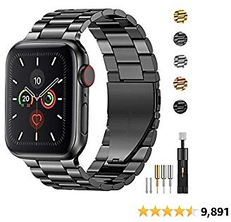 Fitlink Stainless Steel Metal Band for Apple Watch 38/40/42/44mm Replacement Link Bracelet Band Compatible with Apple Watch Series 6 Apple Watch Series 5 Apple Watch Series 1/2/3/4 (Grey, 38/40mm)