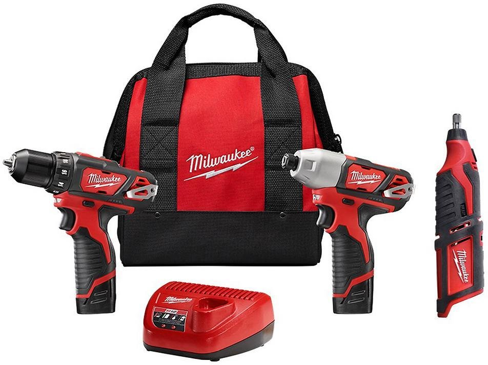 Milwaukee M12 12-Volt Lithium-Ion Cordless Drill Driver/Impact Driver Combo Kit (2-Tool) with M12 Rotary Tool-2494-22-2460-20