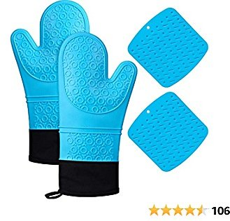 DYD Silicone Oven Mitts and Pot Holders Sets, 4-Piece Set, Heat Resistant 500 Degrees Waterproof Oven Gloves with Cotton Lining, Pot Holders Trivets for Kitchen BBQ Cooking Baking Grilling Microwave