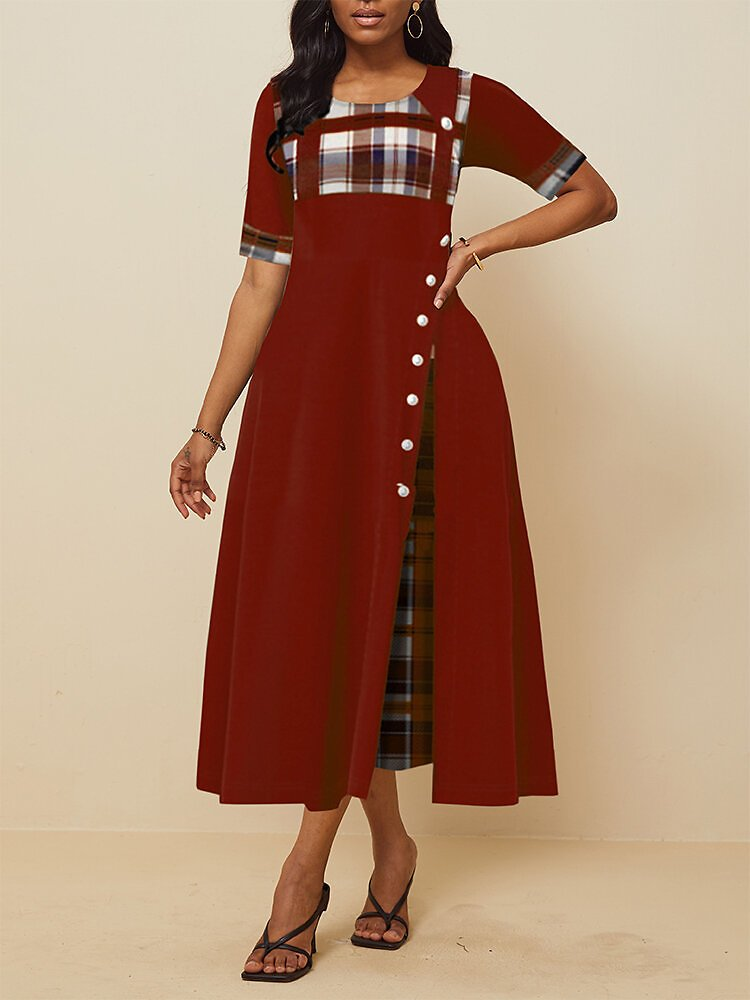 Women's Plaid Patched Irregular Pleated Short Sleeves Maxi Dress