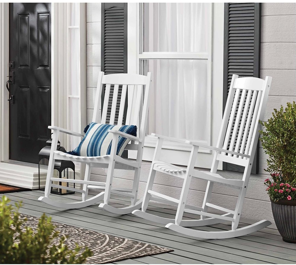 Mainstays Outdoor Wood Porch Rocking Chair, Weather Resistant Finish