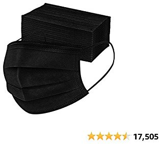 Disposable 3ply Face Mask Elastic Earloop Mouth Face Cover,Anti-spittle,Protective Dust(Black,50pcs)